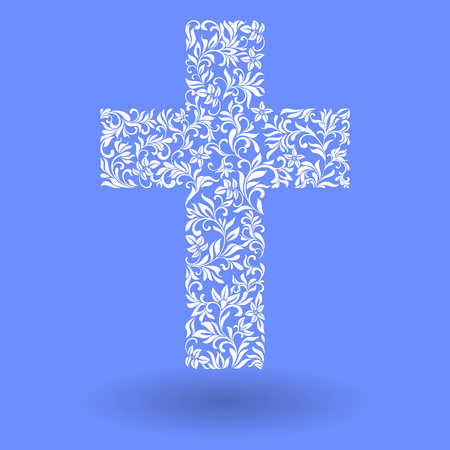 evangelical: Cross from a floral ornament on a blue background Illustration