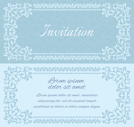 a place for the text: Elegant invitation layout with vintage frames. There is a place for text