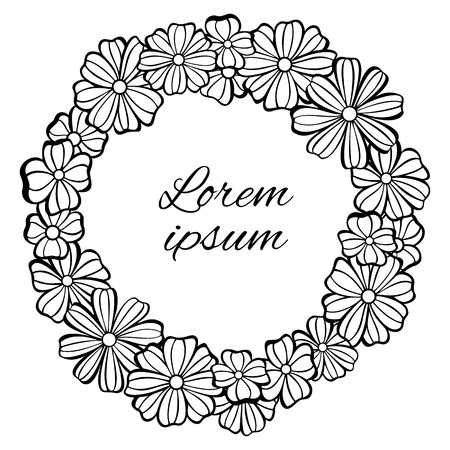 gamma: Frame - wreath of flowers. Black and white gamma