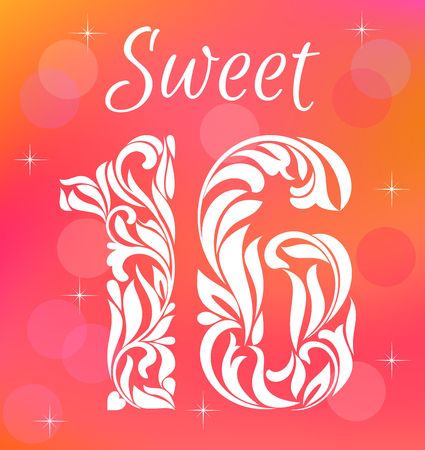 sixteen: Bright Greeting card Invitation Template. Sweet Sixteen