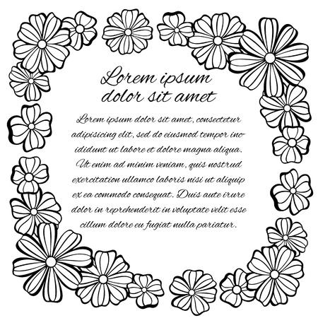 elegant white: Square frame of flowers. Black and white gamma