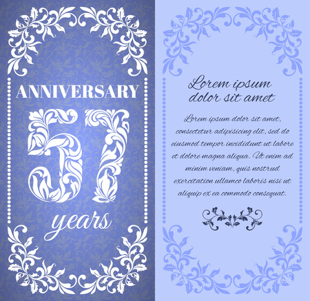 57: Luxury template with floral frame and a decorative pattern for the 57 years anniversary. There is a place for text