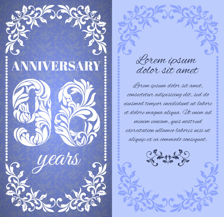 eight year old: Luxury template with floral frame and a decorative pattern for the 98 years anniversary. There is a place for text