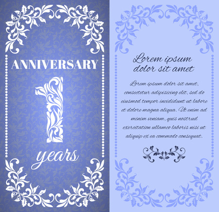 1 place: Luxury template with floral frame and a decorative pattern for the 1 years anniversary. There is a place for text