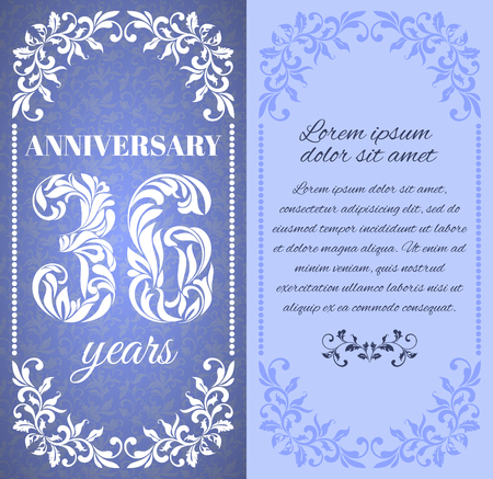 36 6: Luxury template with floral frame and a decorative pattern for the 36 years anniversary. There is a place for text Illustration