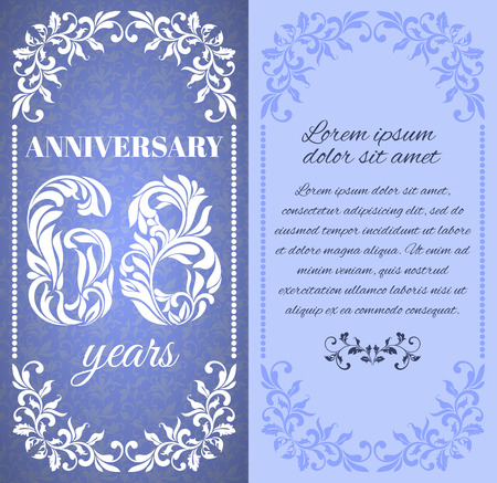 eight year old: Luxury template with floral frame and a decorative pattern for the 68 years anniversary. There is a place for text Illustration