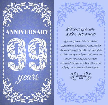 99: Luxury template with floral frame and a decorative pattern for the 99 years anniversary. There is a place for text
