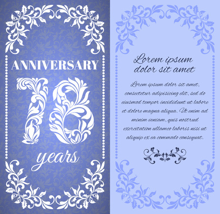 eight year old: Luxury template with floral frame and a decorative pattern for the 78 years anniversary. There is a place for text Illustration