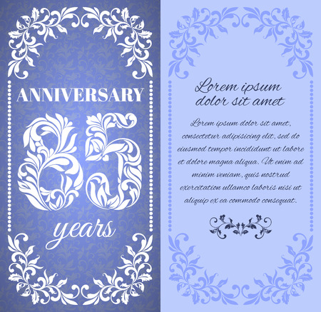 a place for the text: Luxury template with floral frame and a decorative pattern for the 85 years anniversary. There is a place for text