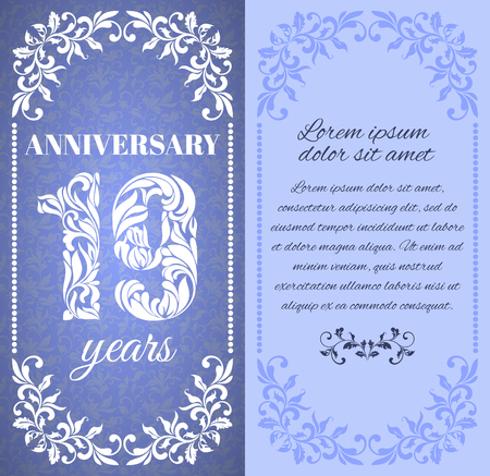 19 years: Luxury template with floral frame and a decorative pattern for the 19 years anniversary. There is a place for text