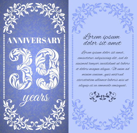 a place for the text: Luxury template with floral frame and a decorative pattern for the 39 years anniversary. There is a place for text