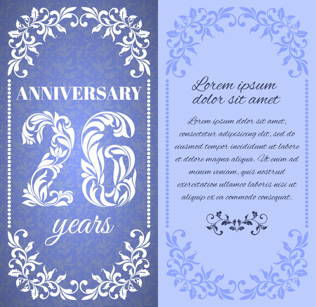 twenty six: Luxury template with floral frame and a decorative pattern for the 26 years anniversary. There is a place for text