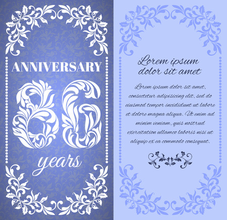 six year old: Luxury template with floral frame and a decorative pattern for the 86 years anniversary. There is a place for text Illustration