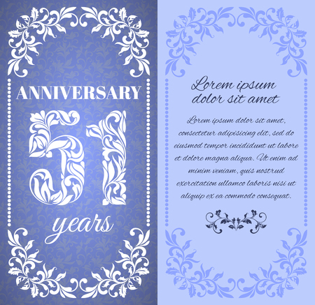 51: Luxury template with floral frame and a decorative pattern for the 51 years anniversary. There is a place for text Illustration