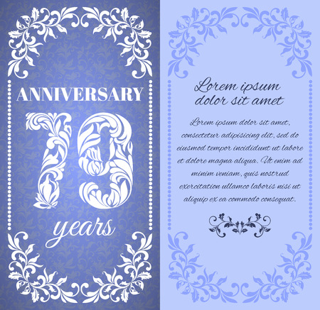 a place for the text: Luxury template with floral frame and a decorative pattern for the 79 years anniversary. There is a place for text