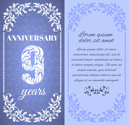 a place for the text: Luxury template with floral frame and a decorative pattern for the 9 years anniversary. There is a place for text