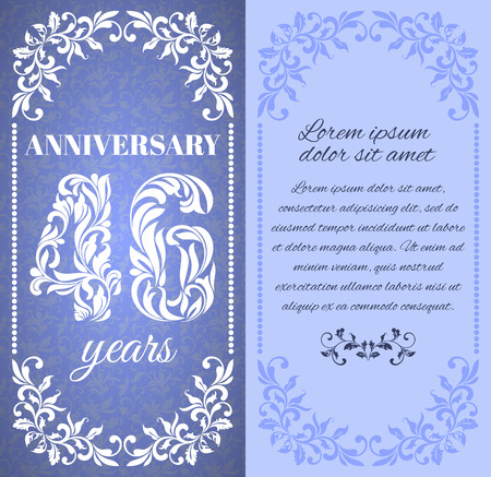 a place for the text: Luxury template with floral frame and a decorative pattern for the 46 years anniversary. There is a place for text
