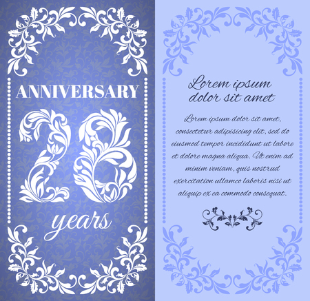 eight year old: Luxury template with floral frame and a decorative pattern for the 28 years anniversary. There is a place for text Illustration