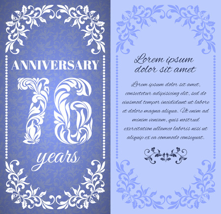 six year old: Luxury template with floral frame and a decorative pattern for the 76 years anniversary. There is a place for text Illustration