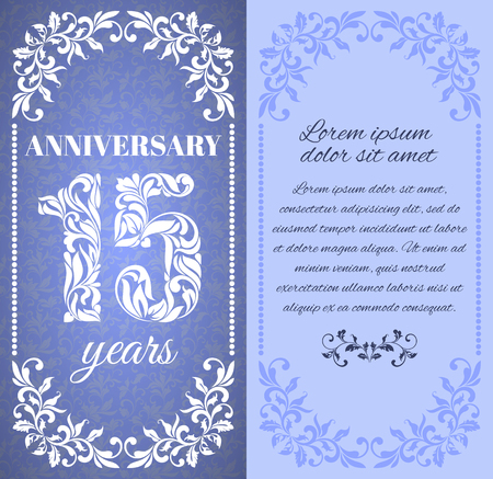 fifteen year old: Luxury template with floral frame and a decorative pattern for the 15 years anniversary. There is a place for text