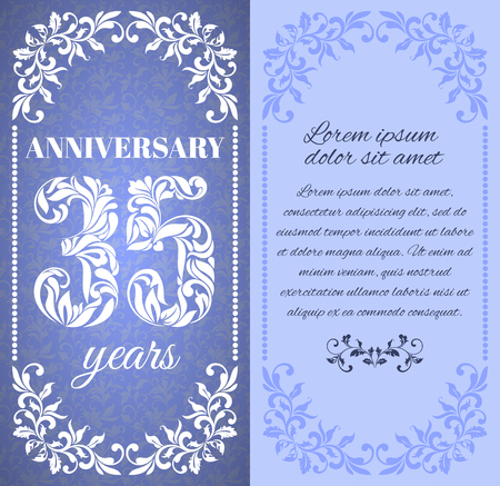 a place for the text: Luxury template with floral frame and a decorative pattern for the 35 years anniversary. There is a place for text Illustration
