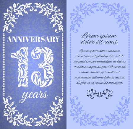 a place for the text: Luxury template with floral frame and a decorative pattern for the 13 years anniversary. There is a place for text