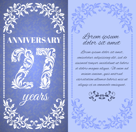 27 years old: Luxury template with floral frame and a decorative pattern for the 27 years anniversary. There is a place for text