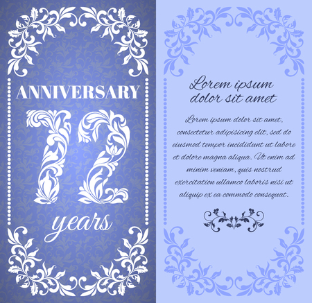 a place for the text: Luxury template with floral frame and a decorative pattern for the 72 years anniversary. There is a place for text