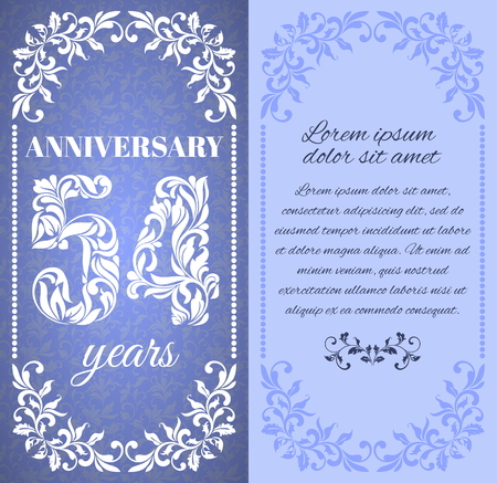 54: Luxury template with floral frame and a decorative pattern for the 54 years anniversary. There is a place for text Illustration