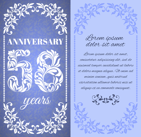 eight year old: Luxury template with floral frame and a decorative pattern for the 58 years anniversary. There is a place for text