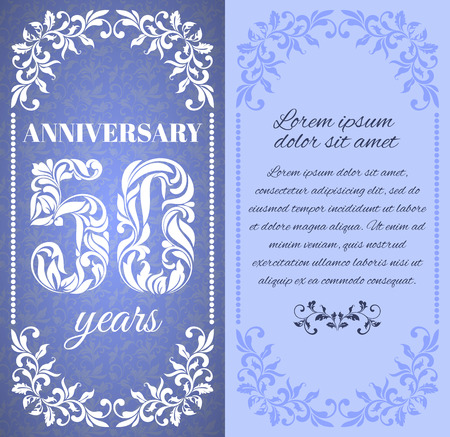 50 years: Luxury template with floral frame and a decorative pattern for the 50 years anniversary. There is a place for text Illustration