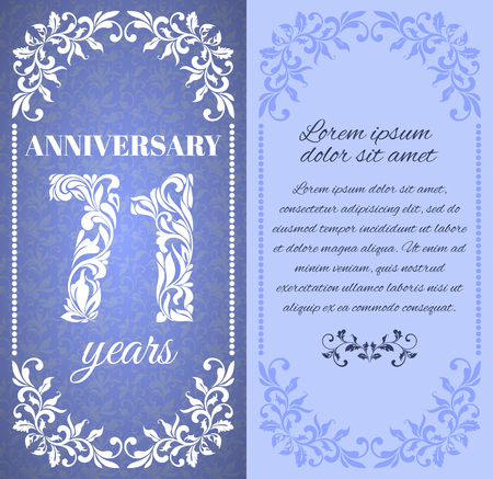 a place for the text: Luxury template with floral frame and a decorative pattern for the 71 years anniversary. There is a place for text