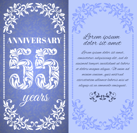 a place for the text: Luxury template with floral frame and a decorative pattern for the 55 years anniversary. There is a place for text