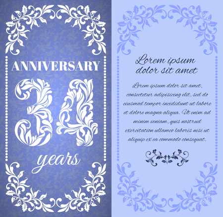 30 34 year old: Luxury template with floral frame and a decorative pattern for the 34 years anniversary. There is a place for text