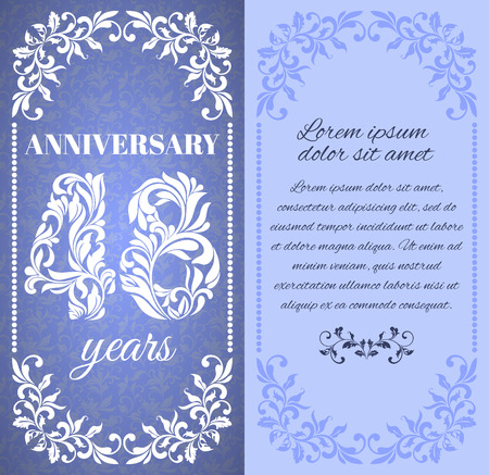 eight year old: Luxury template with floral frame and a decorative pattern for the 48 years anniversary. There is a place for text