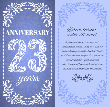 20 23 years: Luxury template with floral frame and a decorative pattern for the 23 years anniversary. There is a place for text