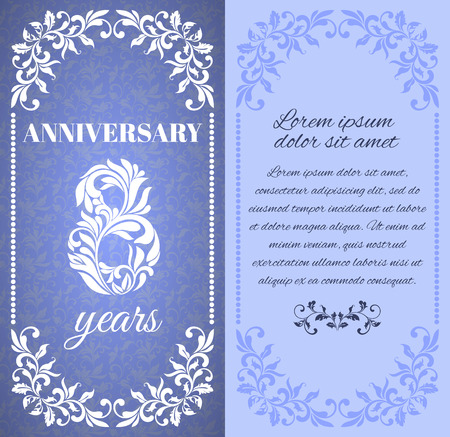 eight year old: Luxury template with floral frame and a decorative pattern for the 8 years anniversary. There is a place for text