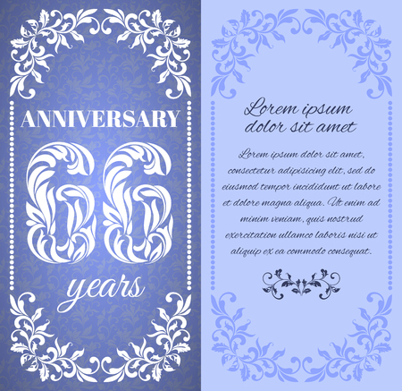 six year old: Luxury template with floral frame and a decorative pattern for the 66 years anniversary. There is a place for text Illustration