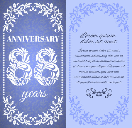 eight year old: Luxury template with floral frame and a decorative pattern for the 88 years anniversary. There is a place for text