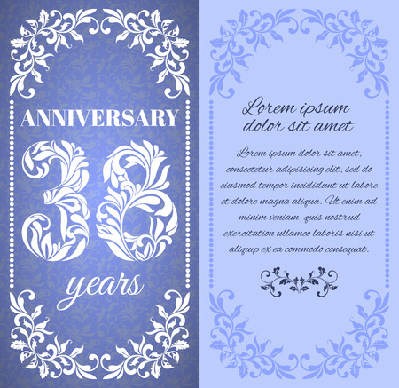 eight year old: Luxury template with floral frame and a decorative pattern for the 38 years anniversary. There is a place for text