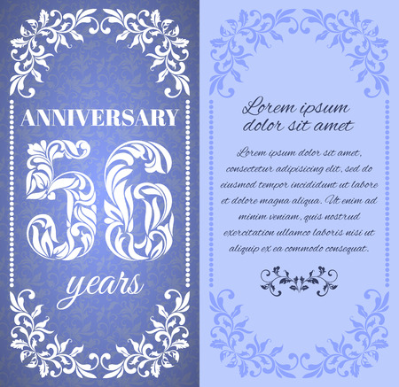 six year old: Luxury template with floral frame and a decorative pattern for the 56 years anniversary. There is a place for text Illustration