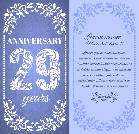 20 29: Luxury template with floral frame and a decorative pattern for the 29 years anniversary. There is a place for text Illustration