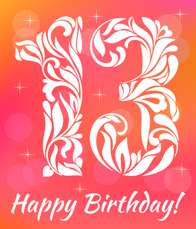 13: Bright Greeting card Invitation Template. Celebrating 13 years birthday. Decorative Font with swirls and floral elements. Illustration