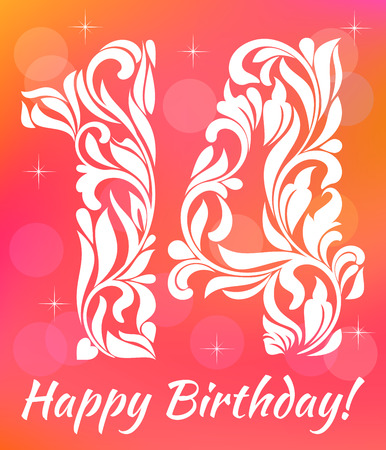 fourteenth: Bright Greeting card Invitation Template. Celebrating 14 years birthday. Decorative Font with swirls and floral elements.