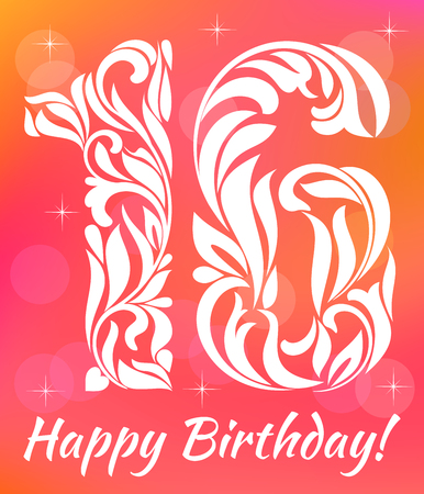 16 years: Bright Greeting card Invitation Template. Celebrating 16 years birthday. Decorative Font with swirls and floral elements.