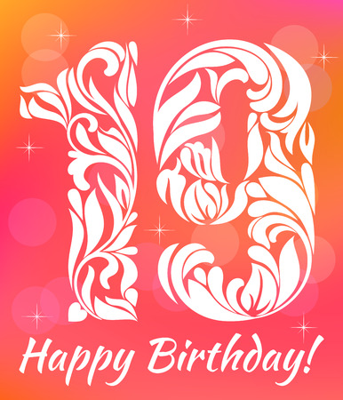 19 years: Bright Greeting card Invitation Template. Celebrating 19 years birthday. Decorative Font with swirls and floral elements. Illustration
