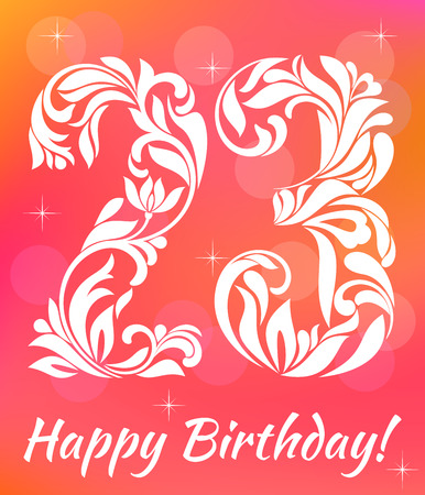 20 23 years: Bright Greeting card Invitation Template. Celebrating 23 years birthday. Decorative Font with swirls and floral elements.