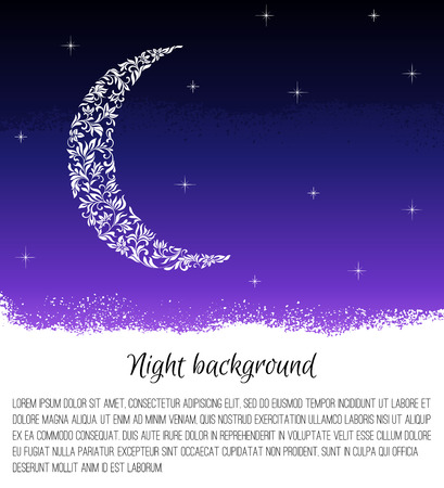 starlit: Night background with the moon and stars. Month made of floral tracery. There is a place for text.