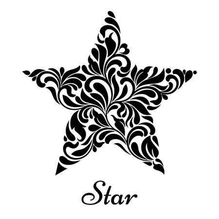 star ornament: Star created from abstract flower ornament isolated on a white background. Illustration