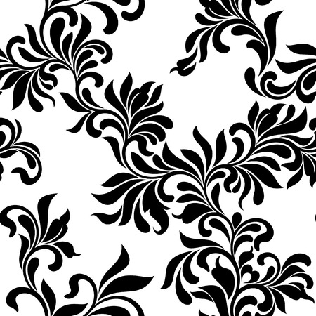 Seamless pattern. Tracery of floral abstract element on a white background. Vintage style. The pattern can be used for printing on textiles, wallpaper, packaging